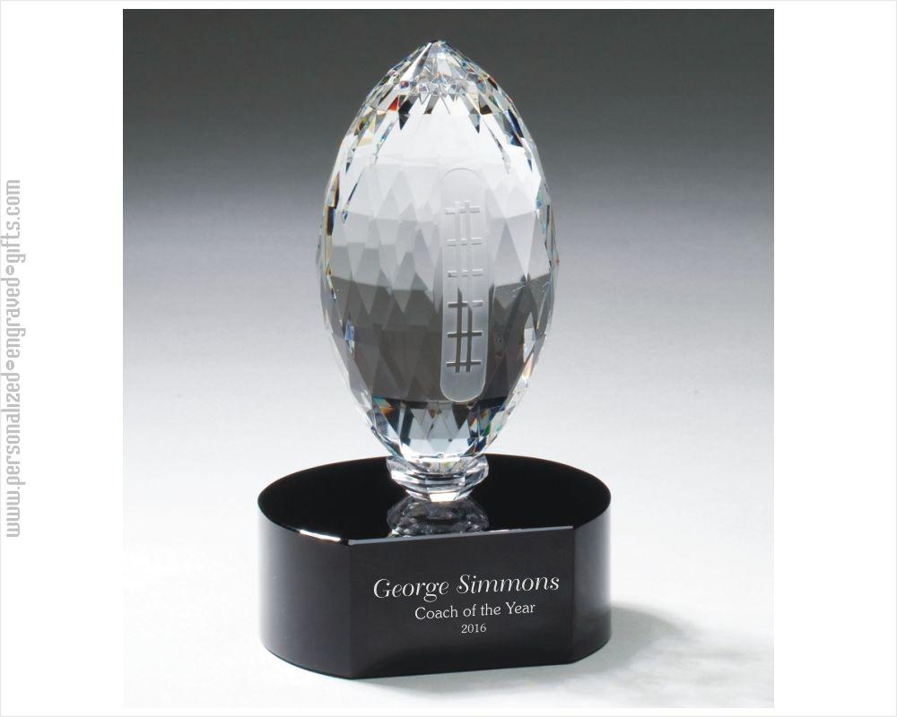 Engraved Crystal Football Award
