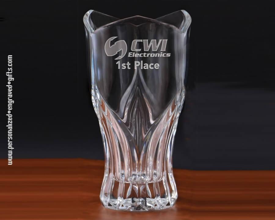 Fluerdelis Styled Engraved Glass Vase