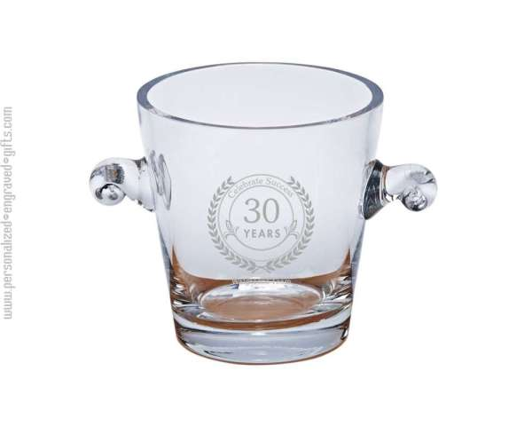 Engraved Crystal Ice Bucket With Handles-derby