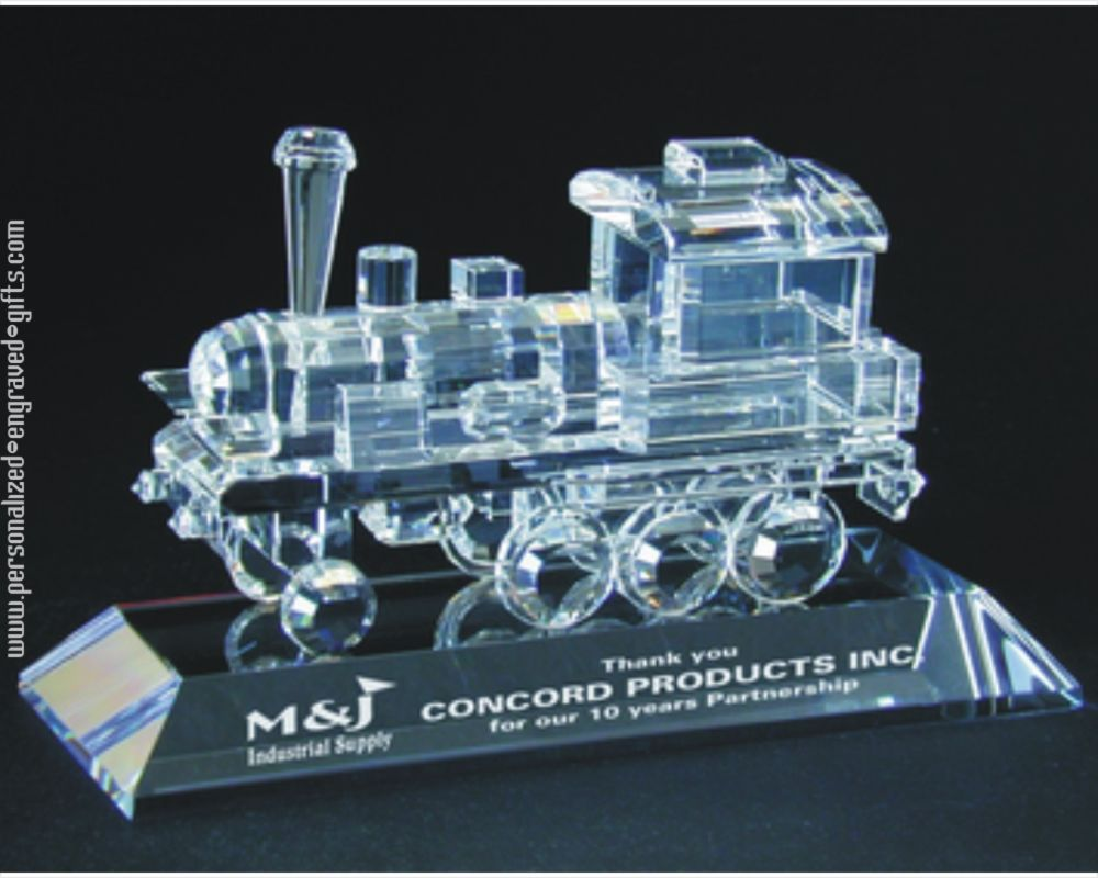 Engraved Crystal Train Award Great Gift For Train Lovers