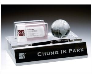 Engraved Crystal Name Plate Business Card  Pen Holder