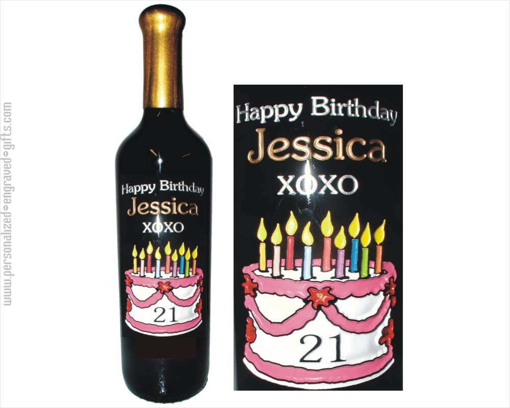 Etched Wine Bottles With Birthday Designs