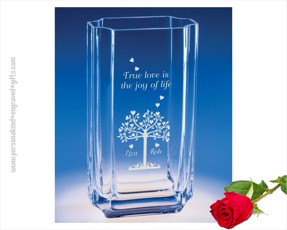 engraved glass vases personalized