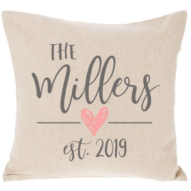 Mr  Mrs Throw Pillow with Wedding Date  Personalized Brides