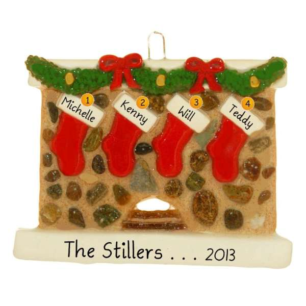 Fireplace 4 Stockings Personalized Dough Christmas