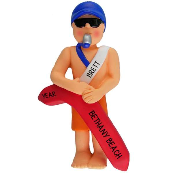 Personalized Guy Lifeguard Whistle In Mouth Ornament