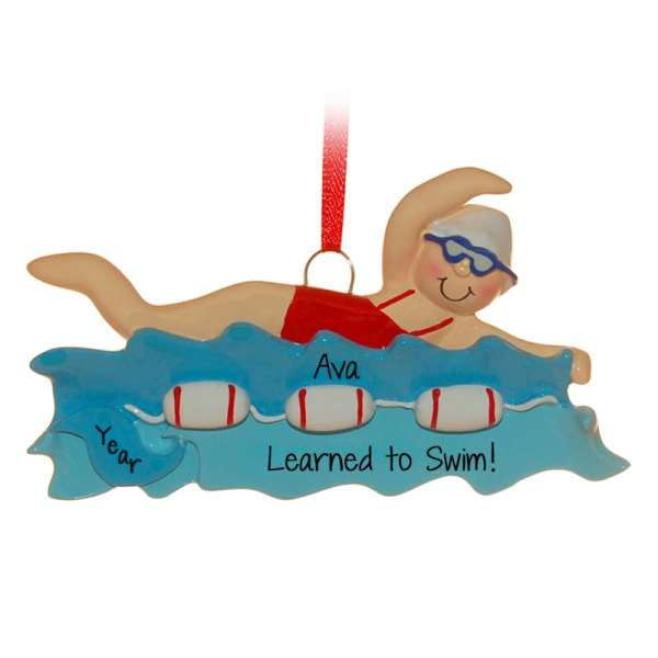 Learned Swim Girl Red Bathing Suit Ornament