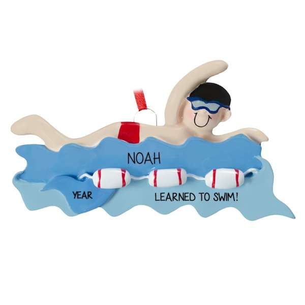 Learned Swim Boy Red Bathing Trunks Ornament
