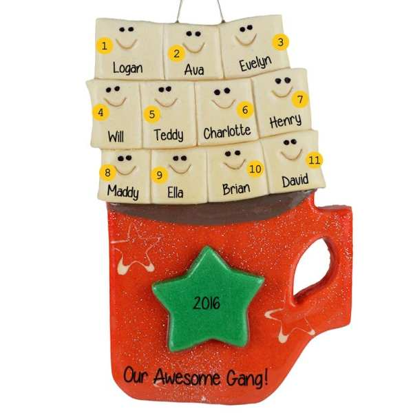 Personalized 11 Marshmallows In Cocoa Cup Dough Ornament