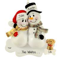 Personalized Snow Couple + DOG Plaid Scarves Ornament