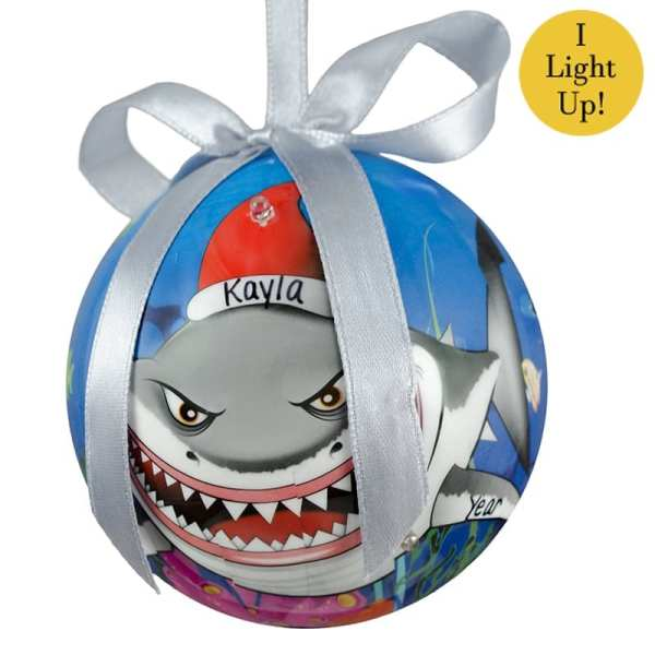 Shark Personalized Blinking Lights -breakable Ornament