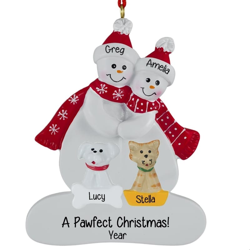 Personalized Snow Couple With Dog & Cat RED Scarves
