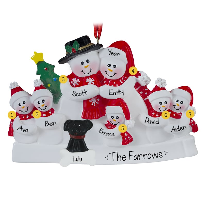 Snow Family Of 7 With Red Scarves + Dog Ornament