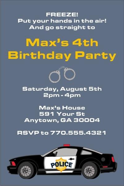 Police Car Invitation Personalized Party Invites