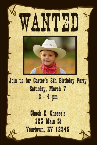 wanted poster western theme birthday party invitations free shipping