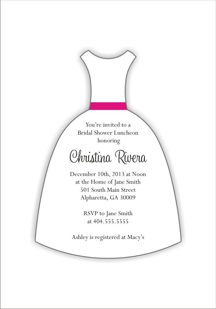 Wedding Dress Die Cut Bridal Shower Invitation