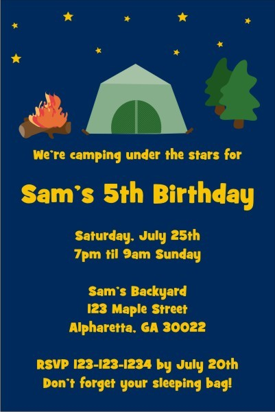 Camping Invitation Personalized Party Invites
