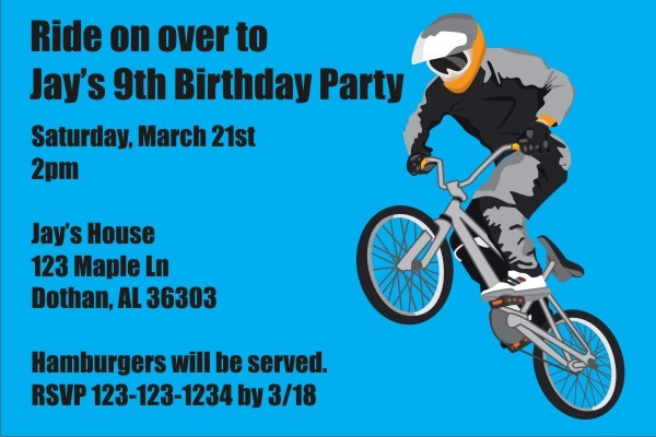 BMX Bike Invitation Personalized Party Invites