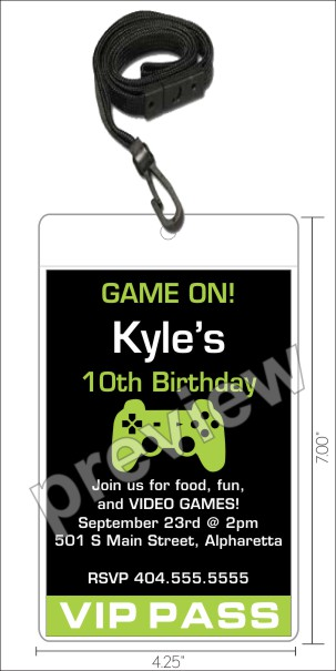 Personalized Party Invites News Video Game VIP Pass