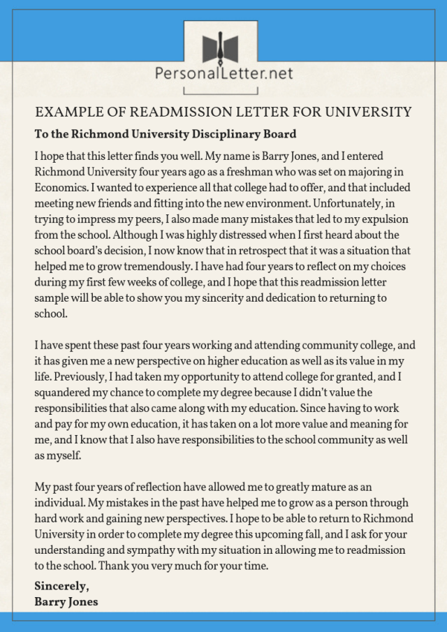 Readmission Letter for University: Secrets to Be Accepted