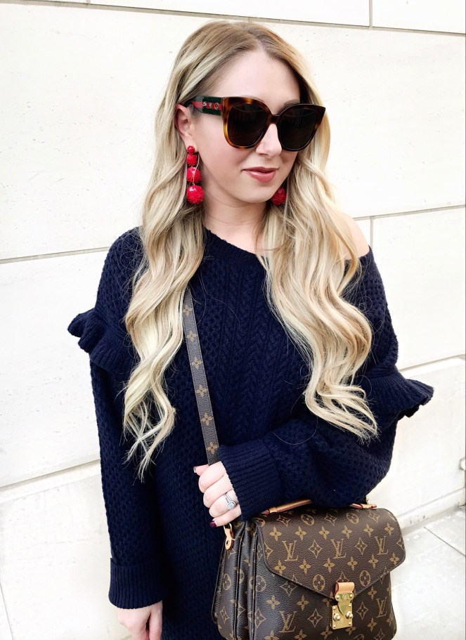 oc blogger, J.crew sweater dress, Louis Vuitton Pochette Metis, Gucci Sunglasses, J.Crew earrings