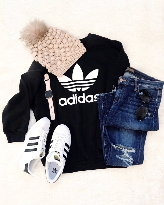 Adidas Sweatshirt, Adidas Superstar, Joes Jeans, Apple Watch, Pink Beanie, Flatlay