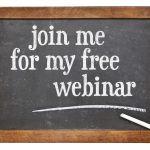 Join me for my free webinar - invitation on a vintage slate blackboard - free live webinar