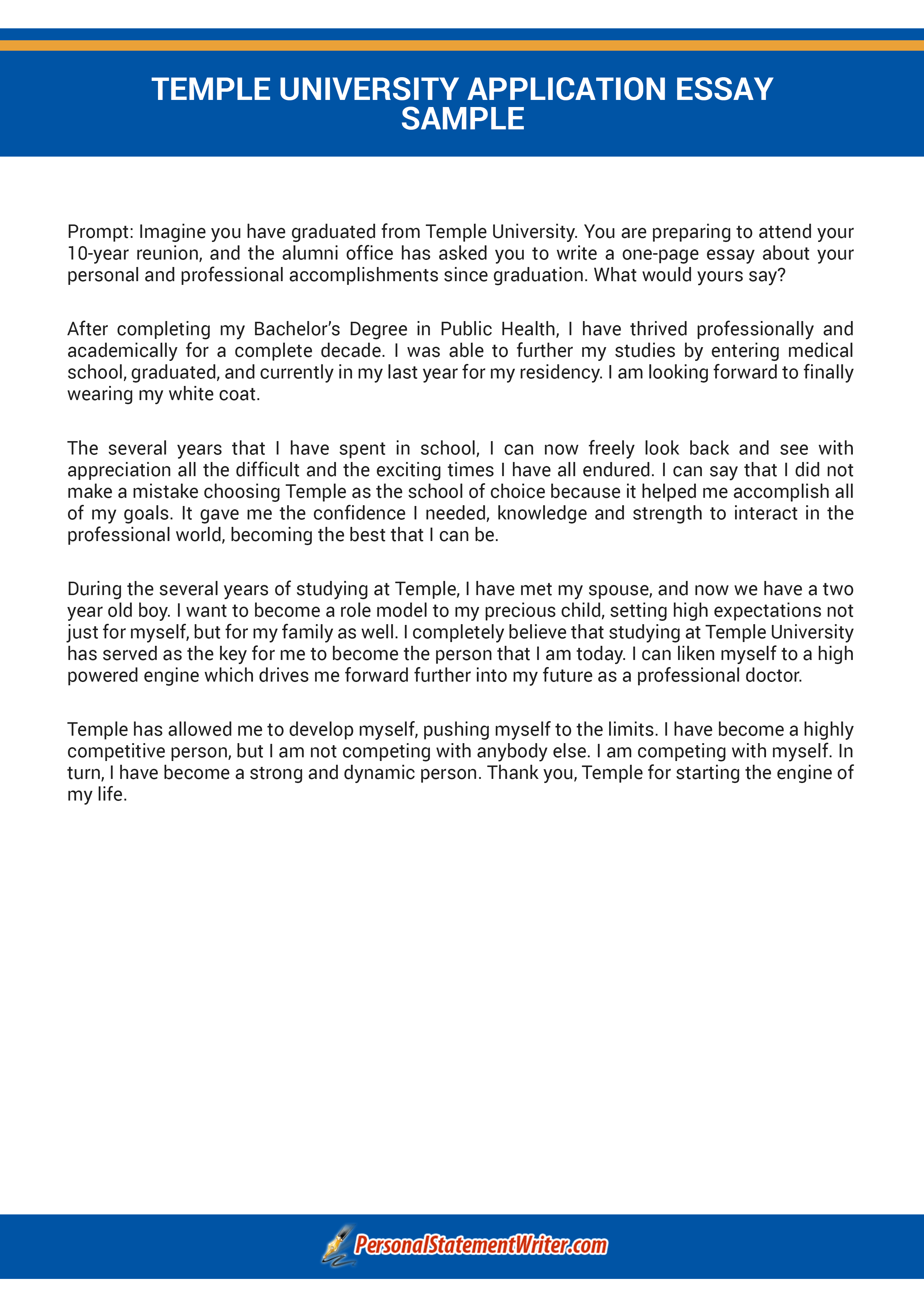 Response Temple University Essay Prompt