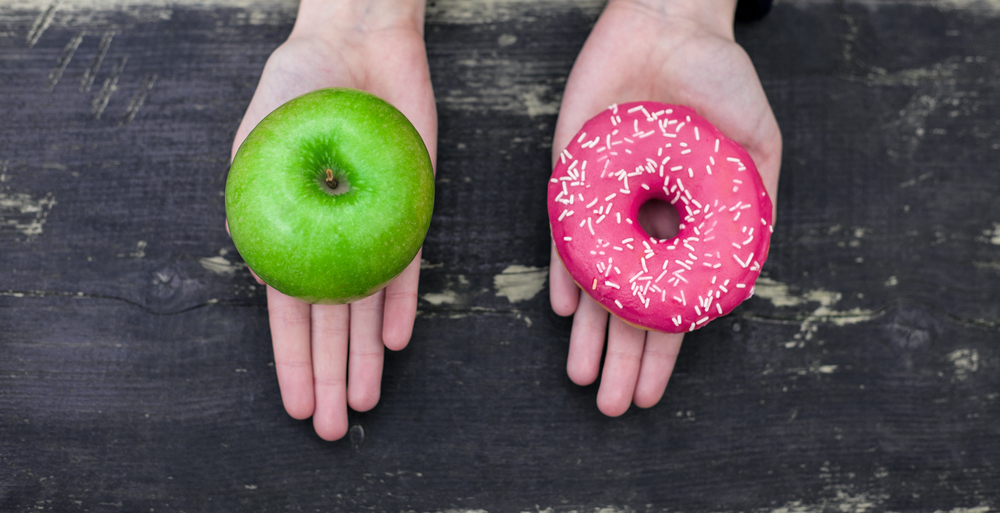 Calorie counts: While both the apple and the doughnut contain calories and sugars, being natural food, the apple is the better choice.