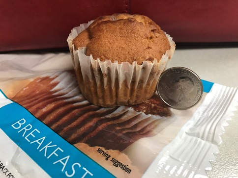 This is a typical diet meal plan breakfast muffin; it's barely taller than a quarter, like maybe two or three bites and that's it!
