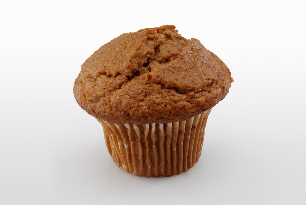 A single bran muffin with a muffin top- this is a great example of which health foods make you fat.