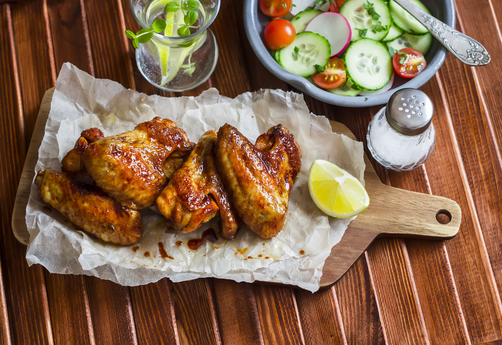 Personal Trainer Food burns fat with unlimited meats like Tangy Sweet Kyoto wings for your Super Bowl party.