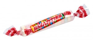 Here's a roll of smarties-- are they better or worse for you than ketchup?