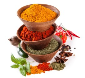 A sampling of different spices that can help you incinerate tummy fat.
