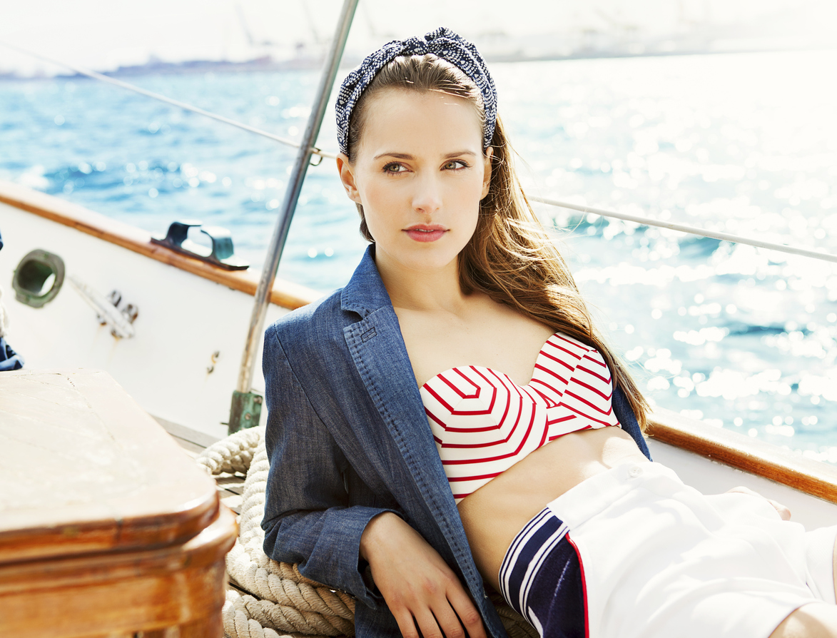 Nautical is nice with this swimsuit trend that any body can wear.