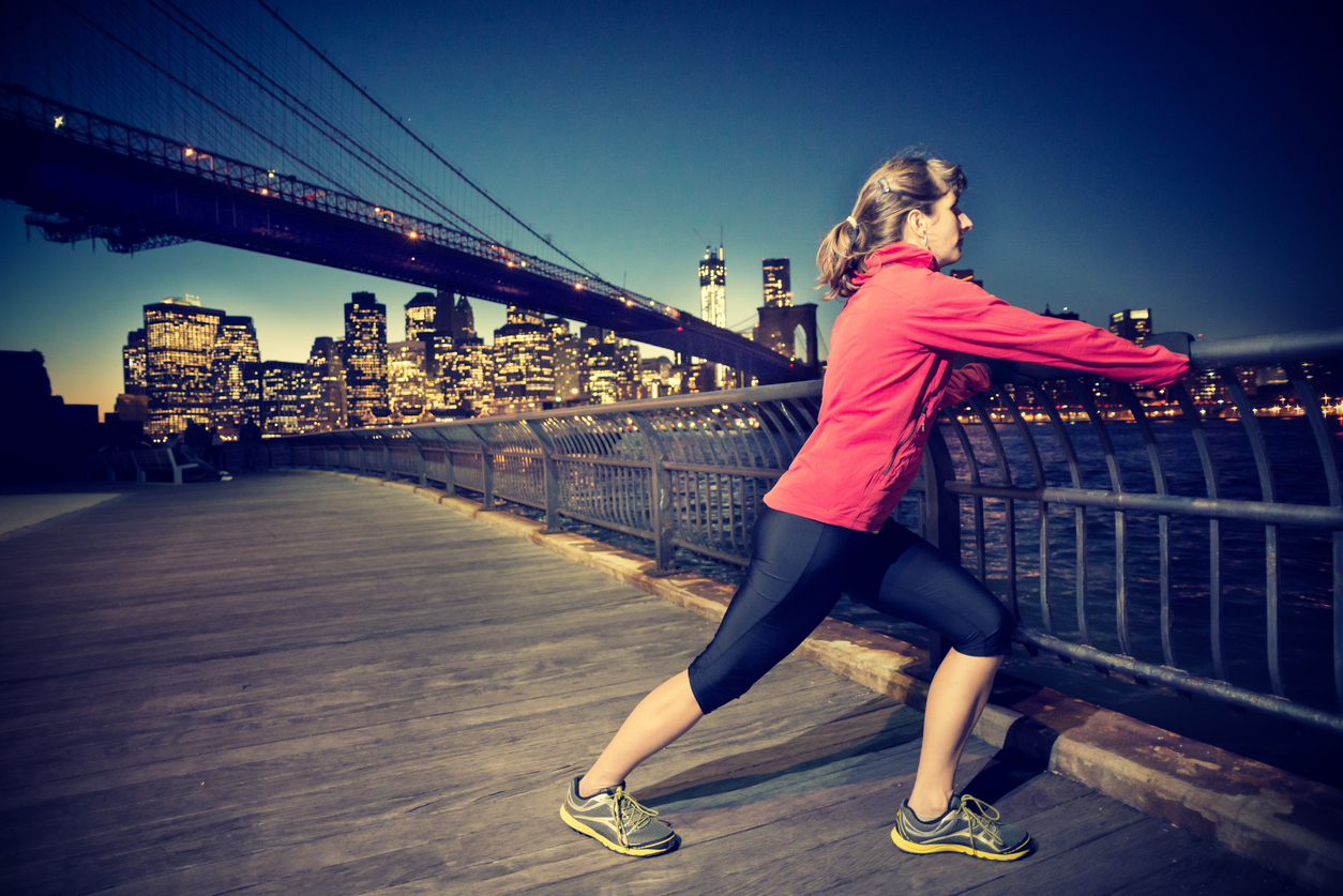 Woman running in New York City.