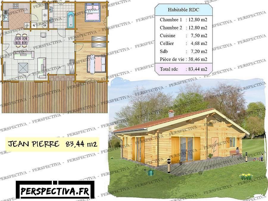 Plan petite maison 2 chambres une mezzanine chambre - Petit chalet bois habitable ...