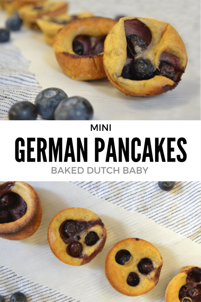 Update your breakfast routine with a simple & faster method to making pancakes. These blueberry German pancakes (dutch baby pancakes) are baked in the oven instead of over the stove top. Makes for an easily prepared breakfast that you're family is sure to love.