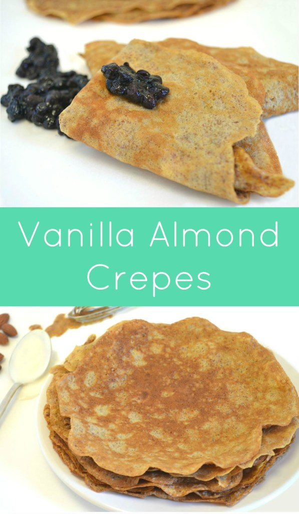 Vanilla Almond Crepes recipe featuring Real California yogurt. Almond meal replaces the flour in this gluten free breakfast or snack option.