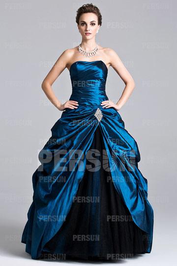 Robe de bal princesse plissée bustier en taffetas