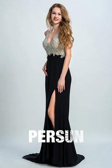 robe de soirée noire à haut orné de strass
