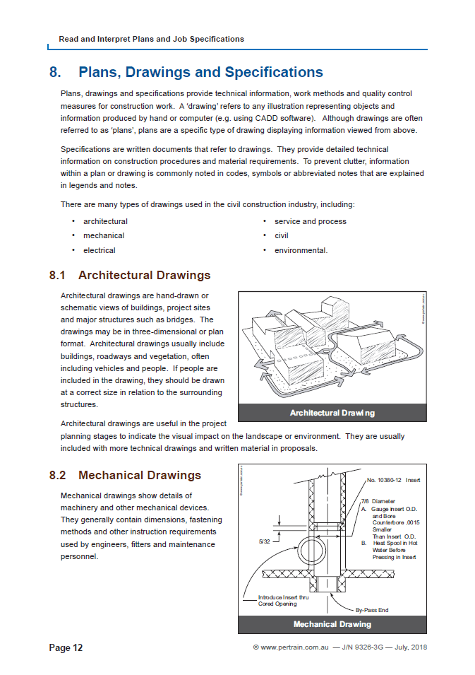 Read and Interpret Plans and Specifications (RIICCM203D)