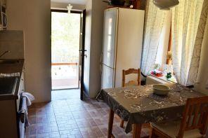 Die Küche mit der Tür zur Terrasse