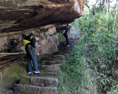 Stairway under a rock overhang