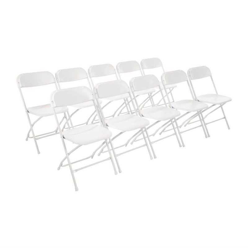 10 chaises pliantes blanches
