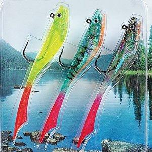 FLADEN CONRAD-SOFT di alta qualità da 3 esche finte Predatory Esca a forma di pesce, per pesca al luccio, per pesi di 15 g, pesce persico e lucioperca 16-7522 []