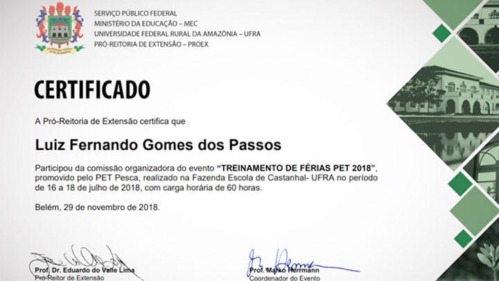 Certificados Treinamento 2018