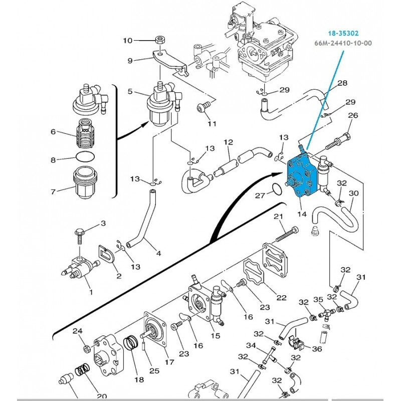 Pompe à essence hors bord Yamaha F9.9-15cv- 66M-24410-10-00