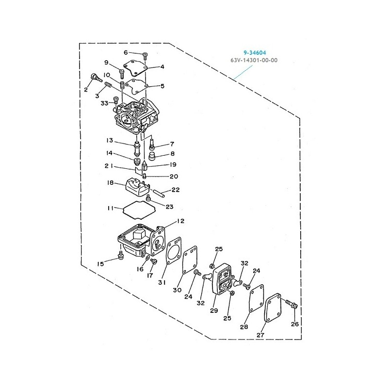 Carburateur hors bord Yamaha 9.9 et 15cv, 63V-14301-00-00
