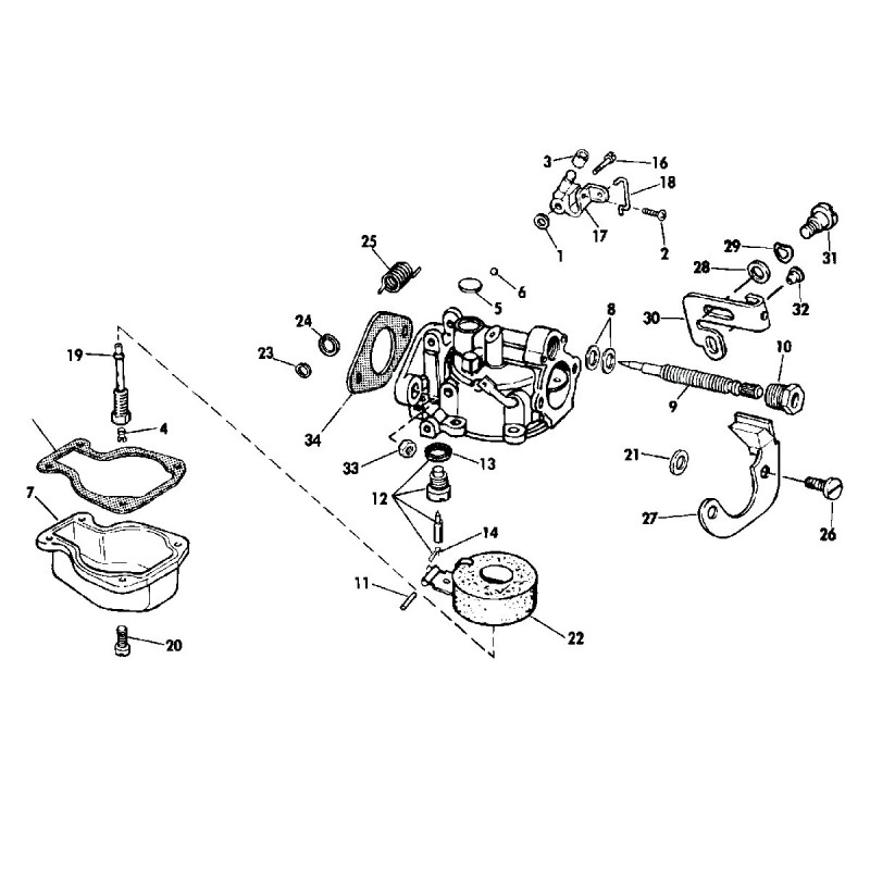Kit carburateur hors bord Johnson et Evinrude 4 , 4.5 , 6